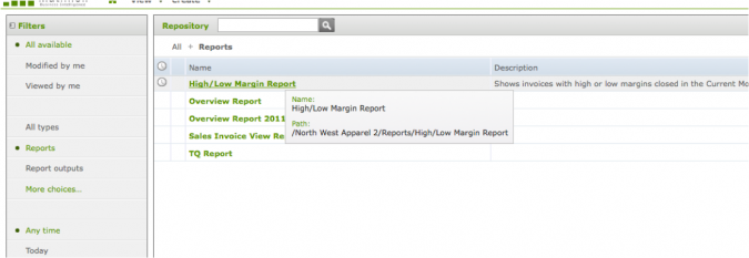 Using Conditional Formatting In Self-service Reporting - Selecting the report