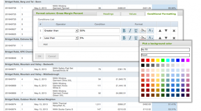 sing Conditional Formatting In Self-service Reporting - Specify Rules and Formatting Choices