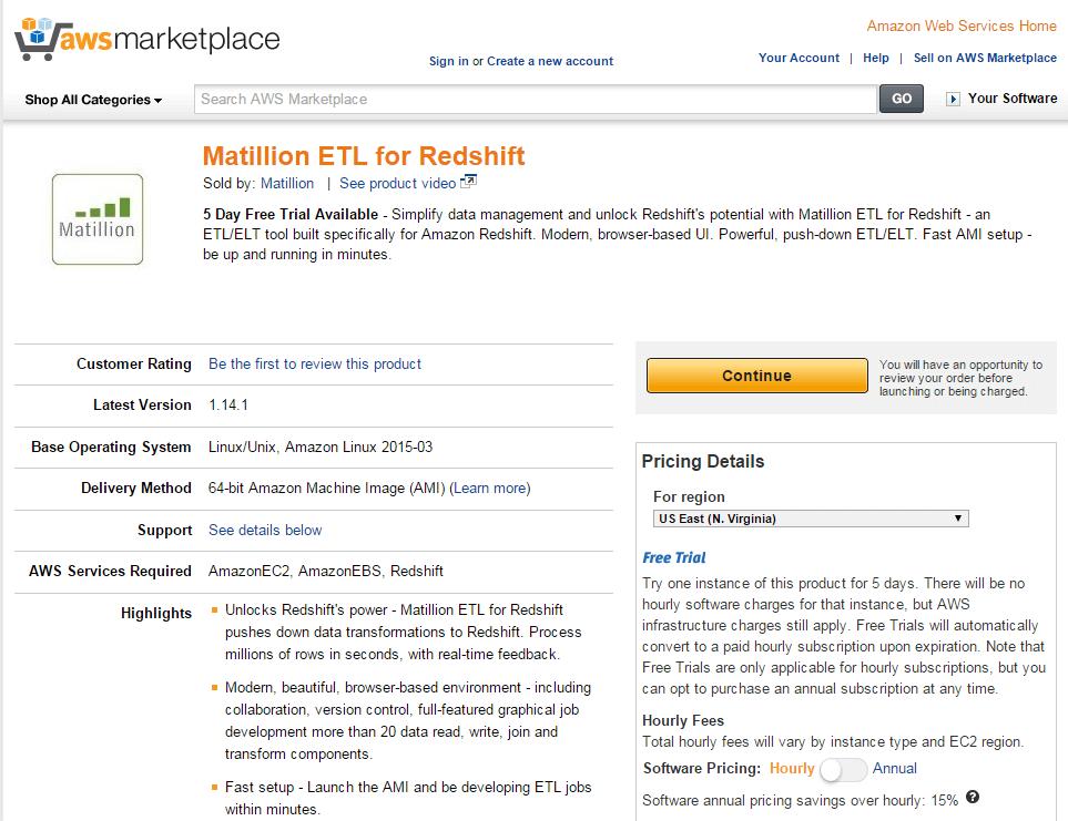 matillion etl for redshift marketplace