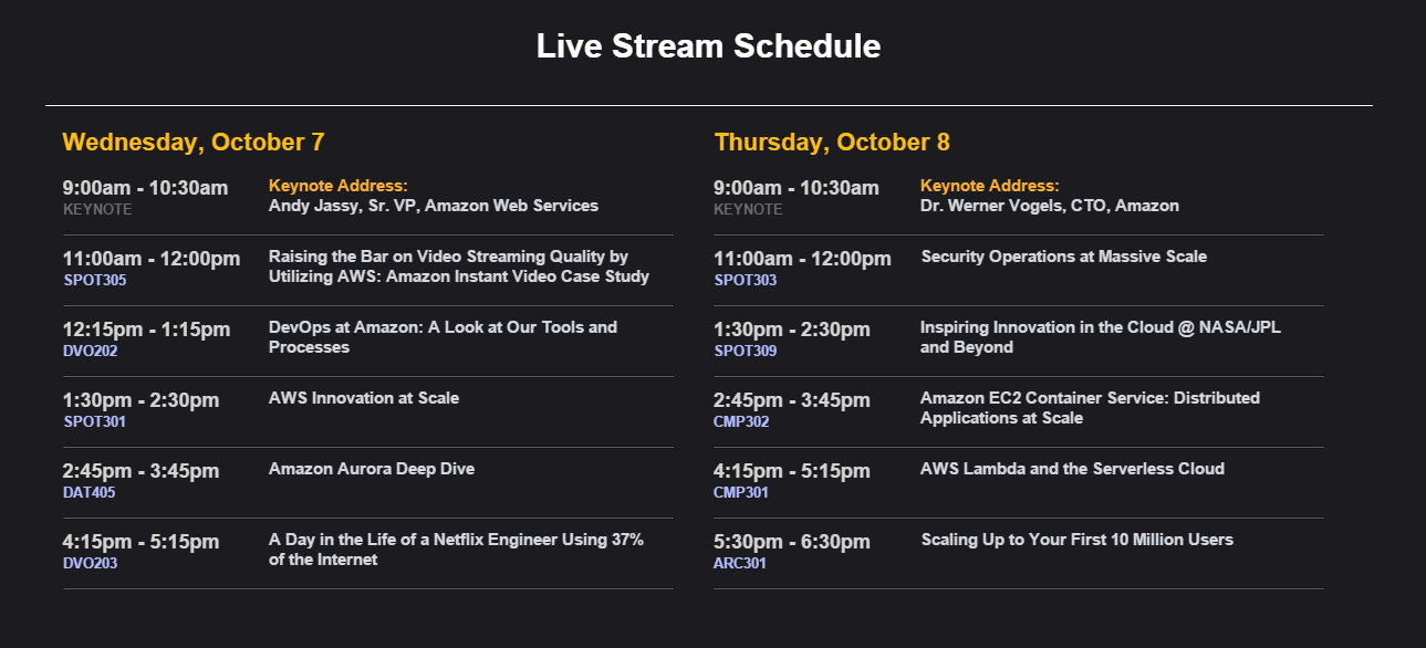 aws re:invent live stream