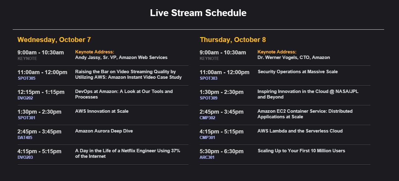aws re:invent live stream