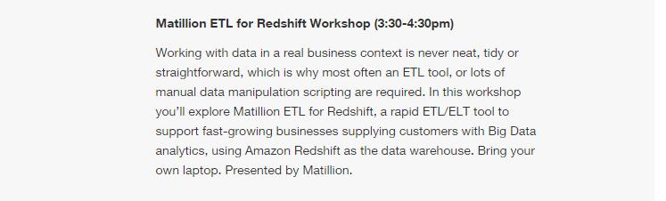 matillion etl for redshift workshop