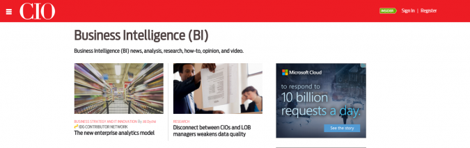 business intelligence news cio