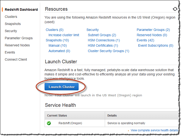 amazon-redhift-cluster-launch-aws