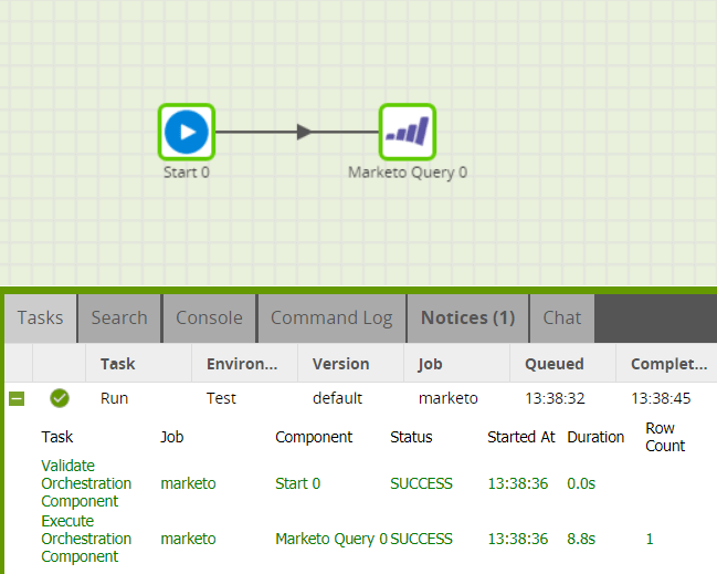 Matillion-ETL-MarketoQueryComponent-Run-Snowflake