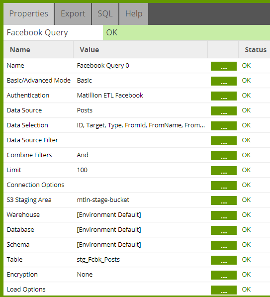 Facebook Query component in Matillion ETL for Snowflake - Orchestration Job