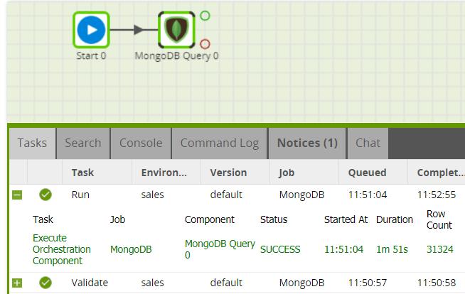 MongoDB Query component in Matillion ETL for Amazon Redshift - Run