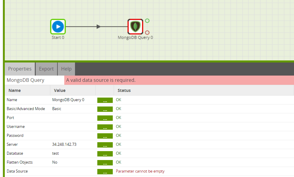 MongoDB Query component in Matillion ETL for BigQuery - Server