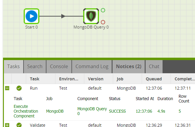 MongoDB Query component in Matillion ETL for Snowflake - Run