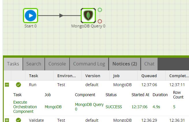 MongoDB Query component in Matillion ETL for Snowflake - Run