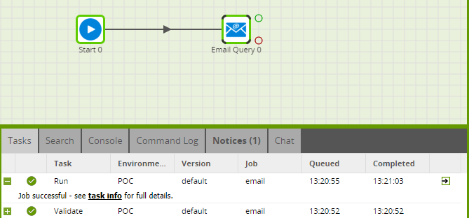 Using the Email Query component in Matillion ETL for BigQuery - Job Successful