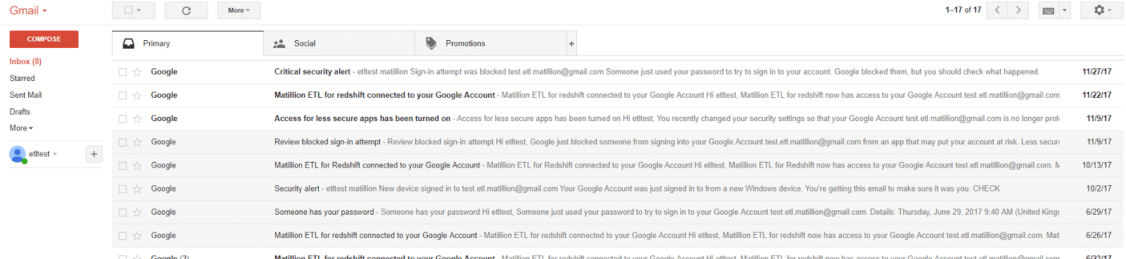Using the Email Query component in Matillion ETL for Amazon Redshift - Gmail