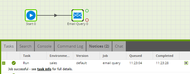 Using the Email Query component in Matillion ETL for Amazon Redshift - Job Successful