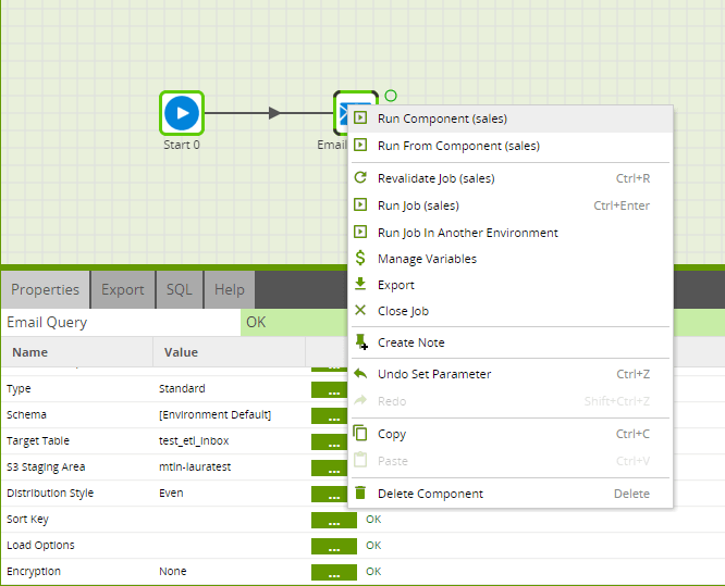 Using the Email Query component in Matillion ETL for Amazon Redshift - Run component