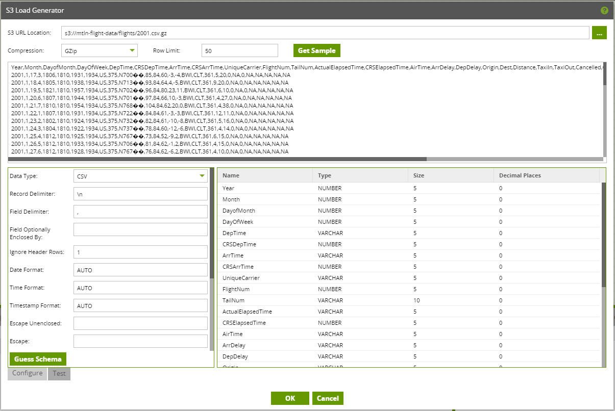 Using the S3 Load Component and S3 Load Generator tool in Matillion ETL for Snowflake - Data Sample