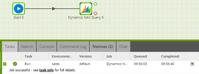 Dynamics NAV Query Component in Matillion ETL - Run Successful