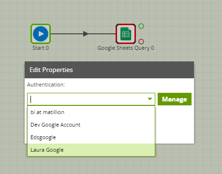 Google Sheets Query Component in Matillion ETL - authentication
