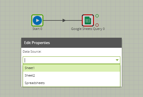 Google Sheets Query Component in Matillion ETL - edit properties