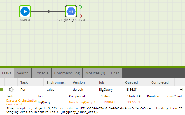 BigQuery Query Component in Matillion ETL for Amazon Redshift - Running Component