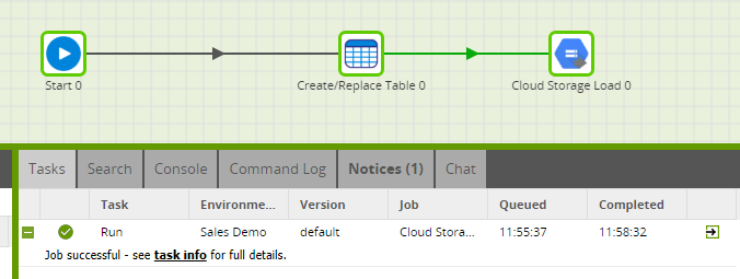 Cloud Storage Load Generator Tool in Matillion ETL for BigQuery to Load a CSV file - run component