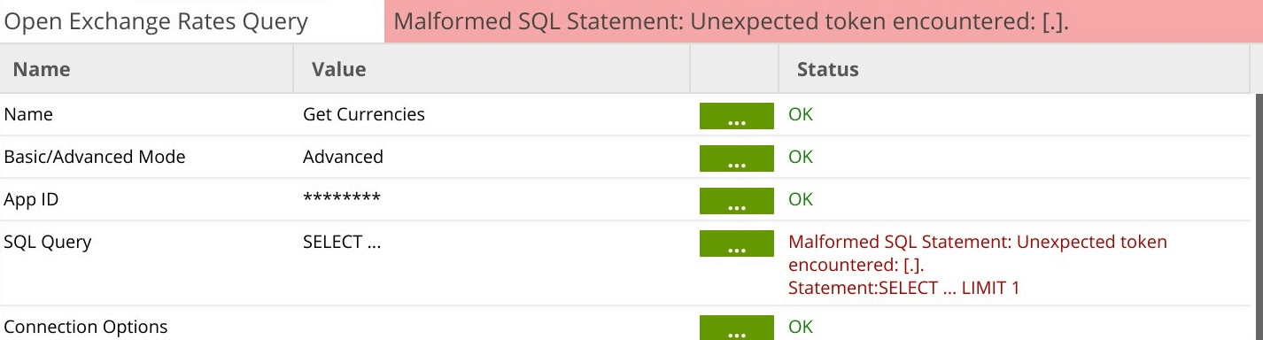 Open Exchange Rates Query component in Matillion ETL for Amazon Redshift - SQL Query