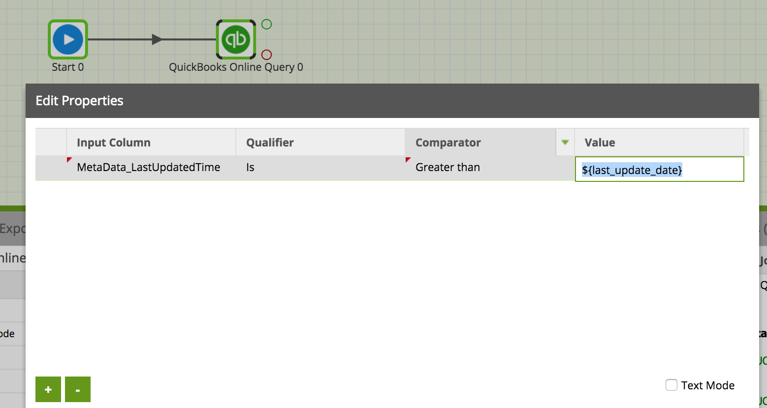 QuickBooks Query in Matillion ETL for Amazon Redshift - data source filter