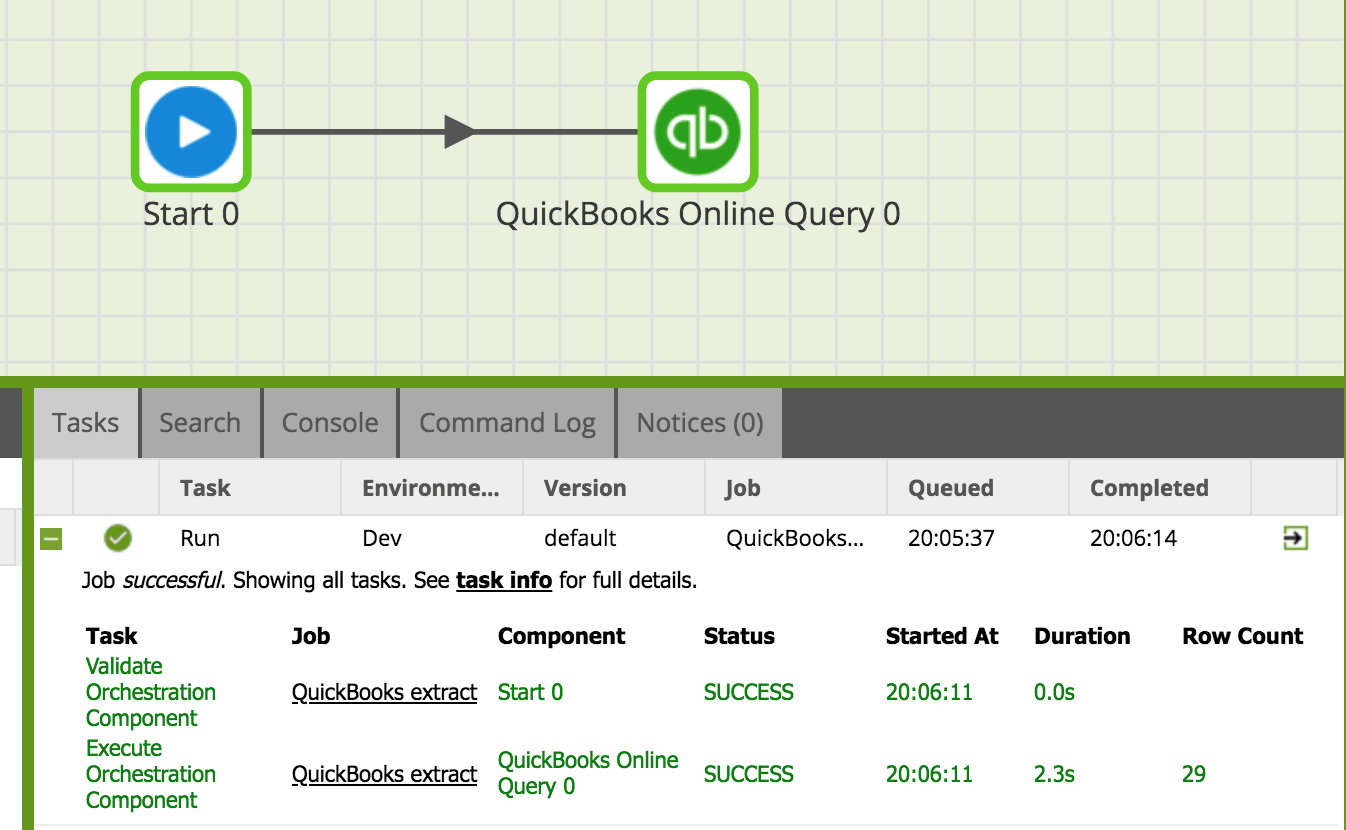 QuickBooks Query in Matillion ETL for Amazon Redshift - running quickbooks component