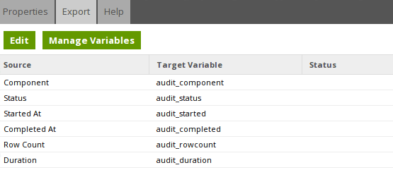 Alerting & Audit Tables - Component Export