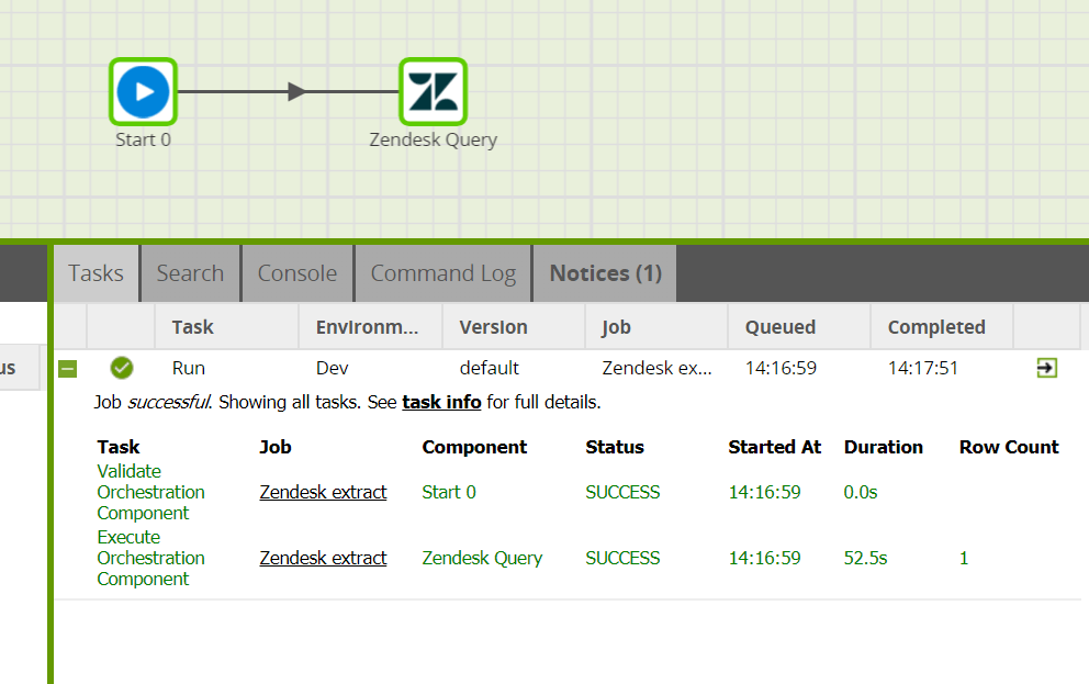 Zendesk Query component in Matillion ETL for Amazon Redshift - Run component