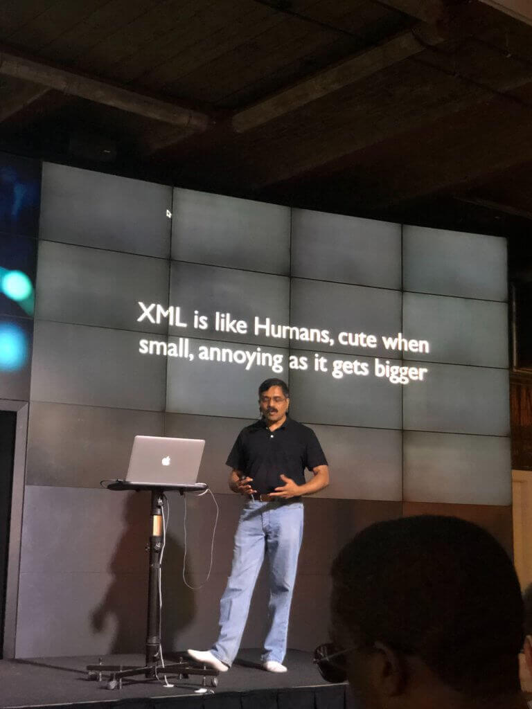 venkat onstage xml is like humans: cute when small but annoying as it gets larger