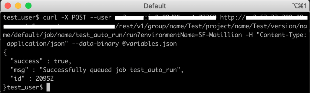 Executing a job in the Matillion API: Screen shot of the second CURL command method