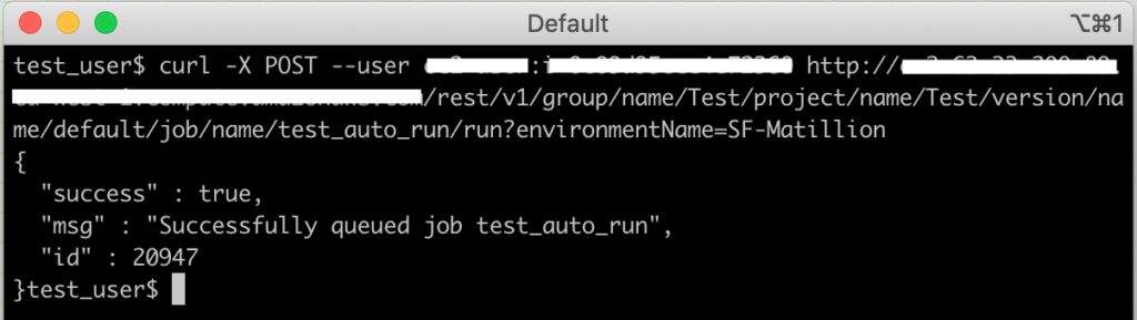 Executing jobs from the Matillion API: this is a screen shot of the CURL command method 1
