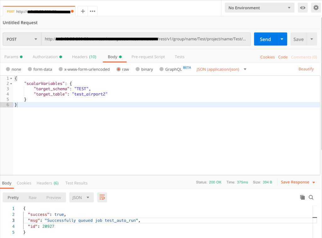 Executing a job in the Matillion API: Postman screen shot 2