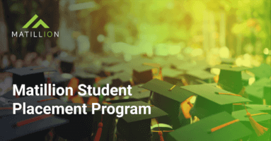 This is an image for the Matillion Student Placement Program. It shows several college graduates in cap and gown .