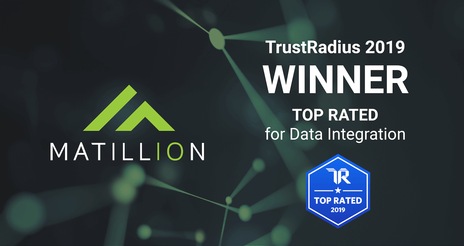 This is a screen announcing that Matillion is Winner of a 2019 TrustRadius Top Rated award