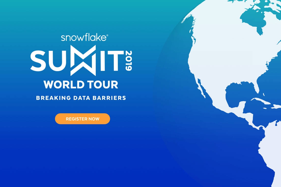 This is a banner announcing the Snowflake Summit World Tour