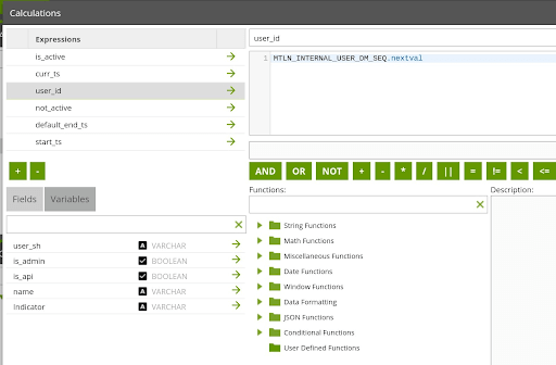 Matillion security controls enable user auditing: user_id screen