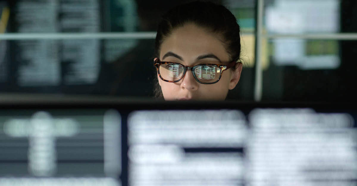 CDO: this is a woman looking at data on a computer monitor