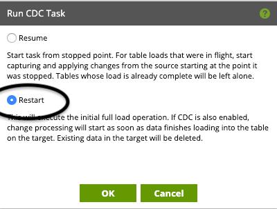 run CDC task restart