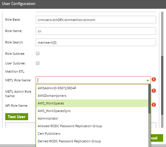 Testing LDAP in Matillion: User Configuration Screen