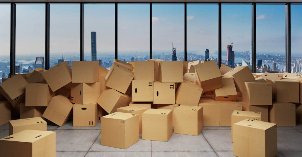 Successful data migration: This is a photo of boxes in front of a skyline