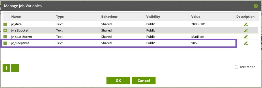 This is a screen shot of managing job variables