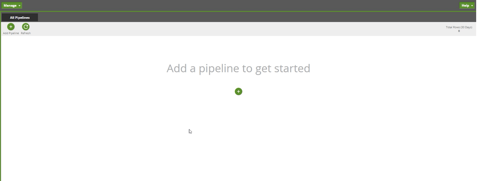How to create a pipeline in Matillion Data Loader: This is a screen shot of the home screen.