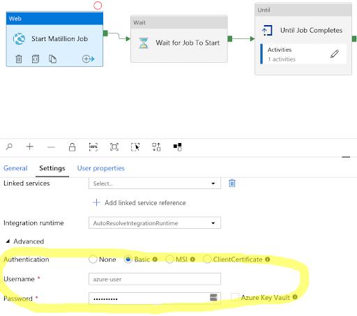 Matillion ETL and Azure Data Factory: set username and password