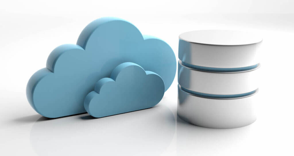 Types of databases: Image of a cloud icon and a database icon