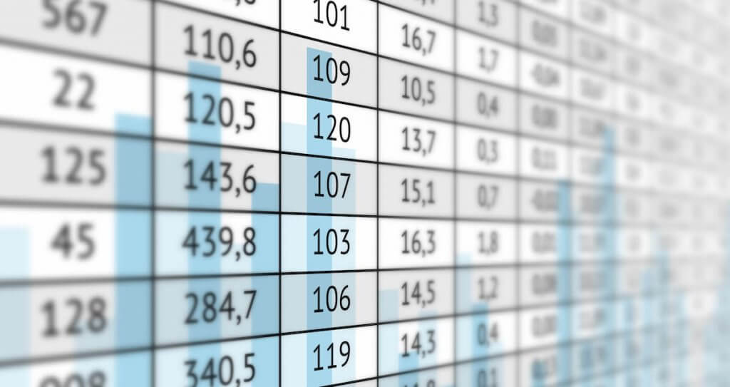 a photo of numerical table data