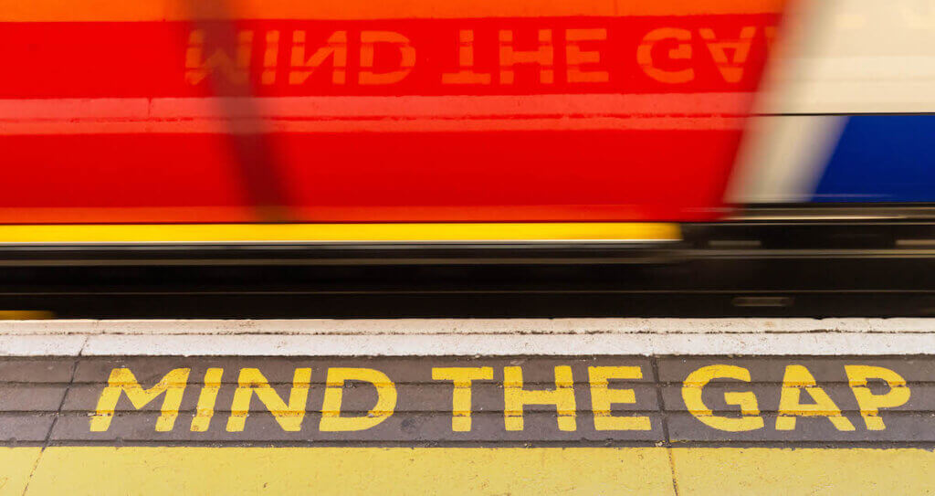 mind the gap warning, referring to the Information Gap